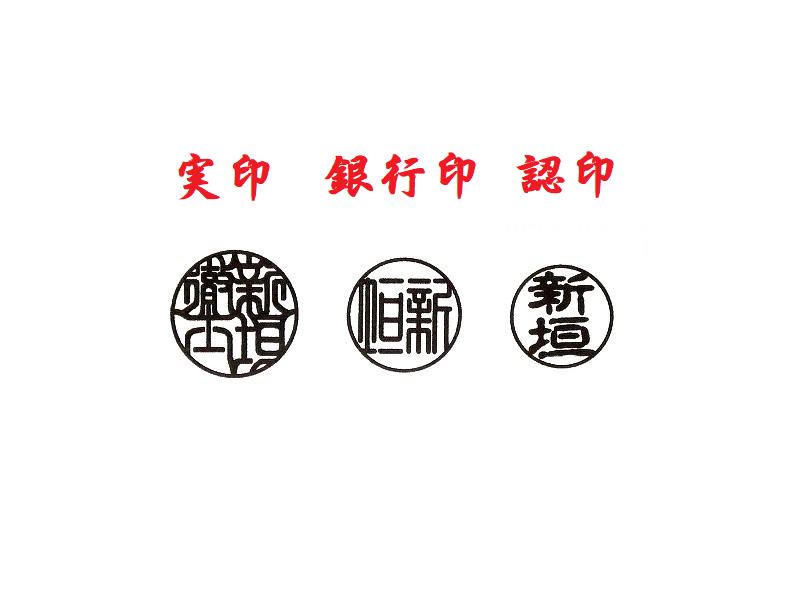 印鑑 印影 書体|実印・銀行印・認印|男性用